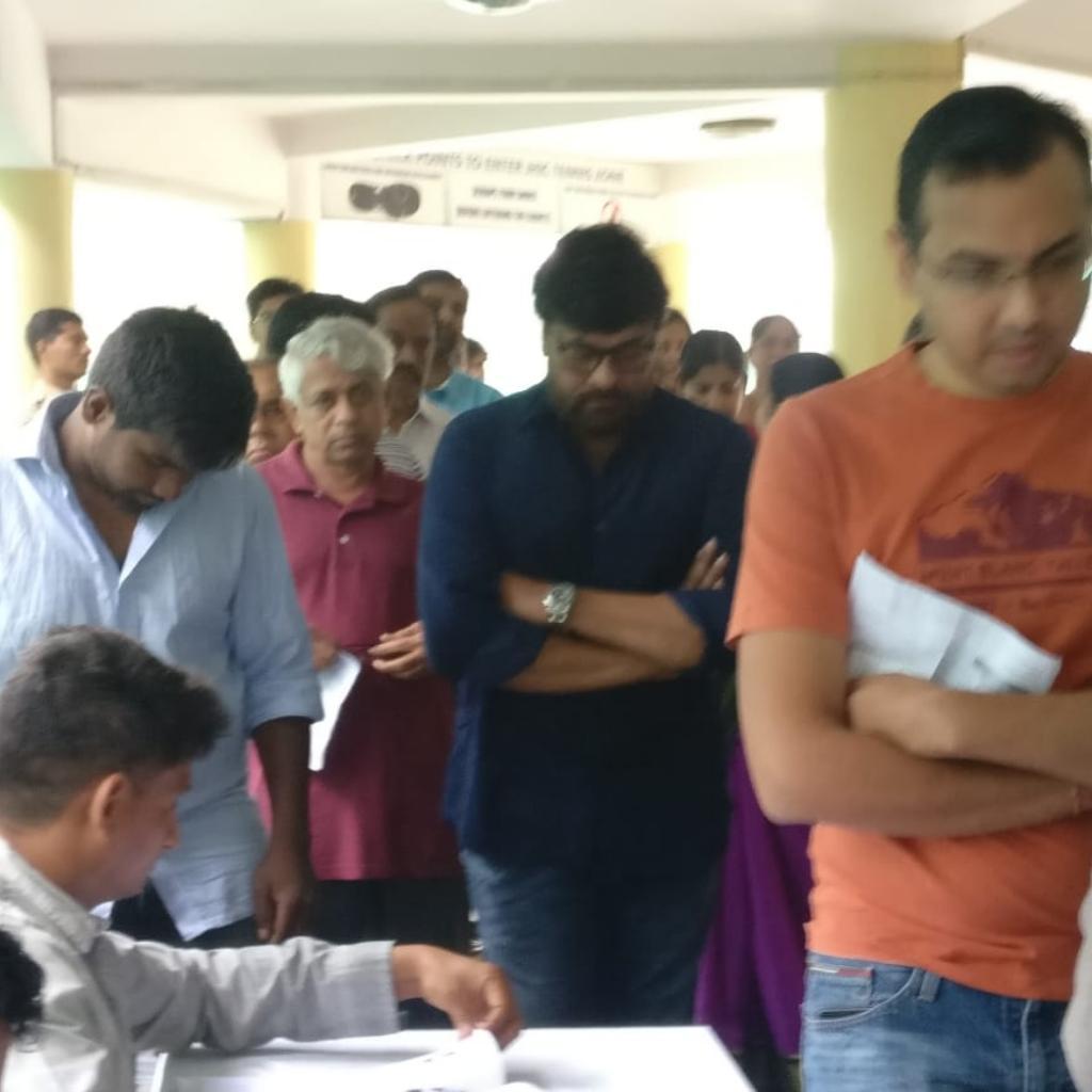Chiranjeevi standing in the queue