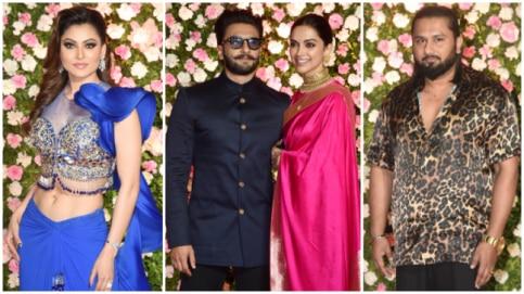 Urvashi Rautela, Deepika Ranveer and Yo Yo Honey Singh at Kapil Sharma's wedding reception Photo: Yogen Shah
