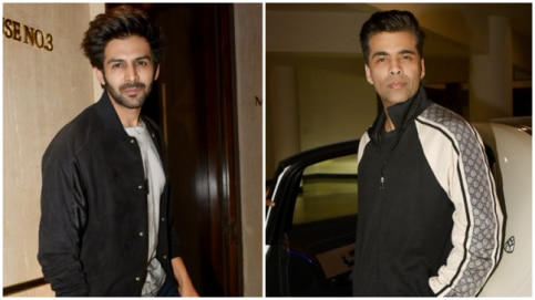 Kartik Aaryan and Karan Johar at Manish Malhotra party Photo: Yogen Shah