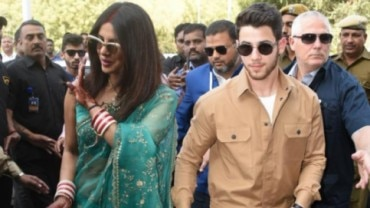 Priyanka Chopra and Nick Jonas made their first public appearance as a married couple at the Jodhpur airport
