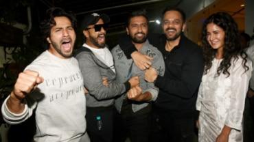 (L-R) Varun Dhawan, Ranveer Singh, Vicky Kaushal, Rohit Shetty and Katrina Kaif