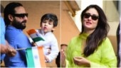 Saif Ali Khan with Taimur (L) and Kareena Kapoor Khan