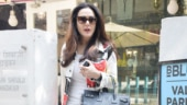 Priety Zinta slays monochrome look with quirky denim jacket and Rs 72k shoes