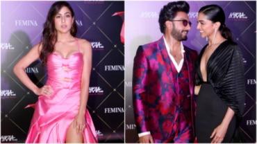 Sara Ali Khan, Ranveer Singh and Deepika Padukone at awards night Photo: Yogen Shah