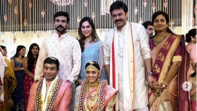 Ram Charan and Upasana at Venkatesh's daughter's wedding