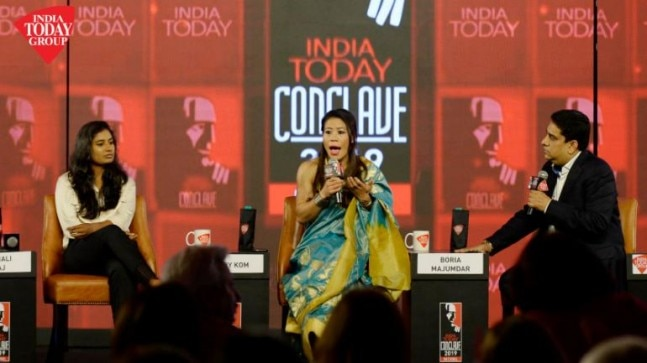 Mithali Raj (Captain, Indian Women's Cricket Team) and Mary Kom (Boxer, Olympic Medalist) at the India Today Conclave 2019 in Taj Palace Hotel, New Delhi on 1st March 2019. Photograph by Vishal Ghavri