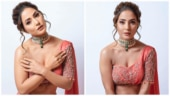 Hina Khan is regal in coral pink lehenga for fashion show. See pics