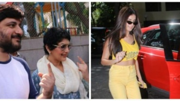 Sonali Bendre and Goldie Behl arrived to cast their vote during the fourth phase of the Lokh Sabha Elections 2019.