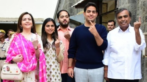 Ambani family casting vote at the General elections 2019 Photo: Yogen Shah