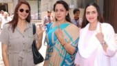 Ahana Deol, Hema Malini and Esha Deol after casting their votes in Mumbai
