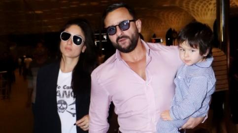 Kareena Kapoor Khan with Saif Ali Khan and Taimur at Mumbai airport.