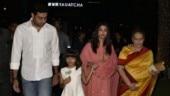Aishwarya Rai, Abhishek Bachchan and Aaradhya step out for dinner to celebrate Vrinda Rai's birthday. See pics
