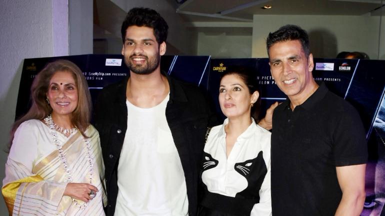 Akshay Kumar, Twinkle Khanna and Dimple Kapadia cheer for Karan Kapadia at Blank screening.
