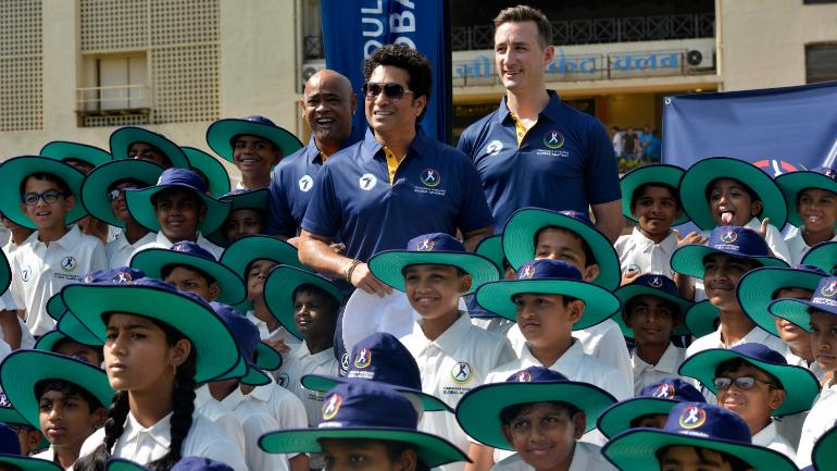 Tendulkar was joined by his childhood friend Vinod Kambli at the Tendulkar Middlesex Global Academy camp