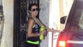Malaika Arora goes all black in halter neck top and mini shorts for gym. See pics