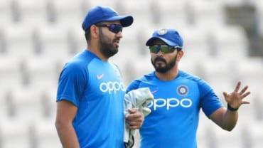 Rohit Sharma and Kedar Jadhav at the Team India training session in Southampton on Thursday (AP Photo)