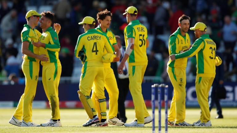 Australia players shake hands after the win