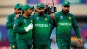 Pakistan's Sarfaraz Ahmed and Mohammad Hafeez celebrate victory over England. (Reuters Photo)