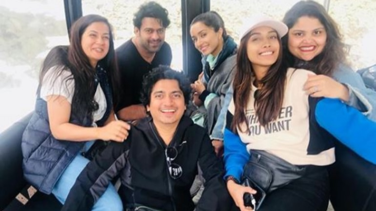 Prabhas and Shraddha Kapoor with their team at Saaho shoot