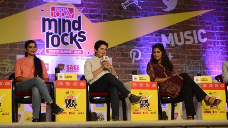 Mountaineers Megha Parmar, Bhawna Dehriya and Shooter Varsha Varman at Mind Rocks 2019