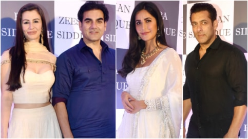 Arbaaz Khan, Giorgia Andriani, Katrina Kaif and Salman Khan at Baba Siddique's Iftar party Photo: Yogen Shah