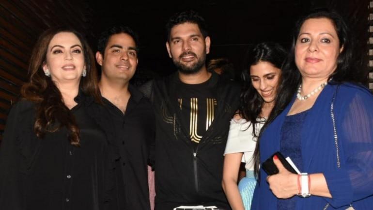 Nita Ambai, Akash Ambani, Shloka Mehta and Yuvraj Singh Photo: Yogen Shah