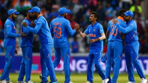 Men in Blue celebrate after their seventh successive win over Pakistan in World Cups. (AP Photo)