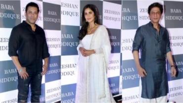 (L-R) Salman Khan, Katrina Kaif and Shah Rukh Khan