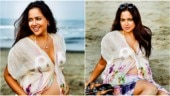 Sameera Reddy bares baby bump in gorgeous beach photoshoot. See pics