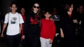 Karisma Kapoor returns from London vacay with kids Samaira and Kiaan, mom Babita Kapoor. See pics