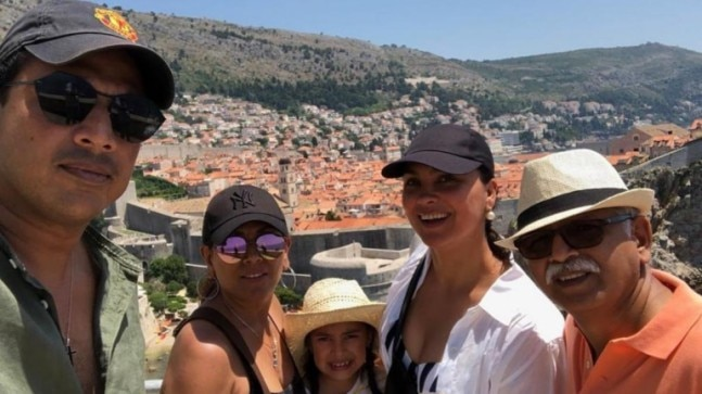 Lara Dutta with her family in Dubrovnik.