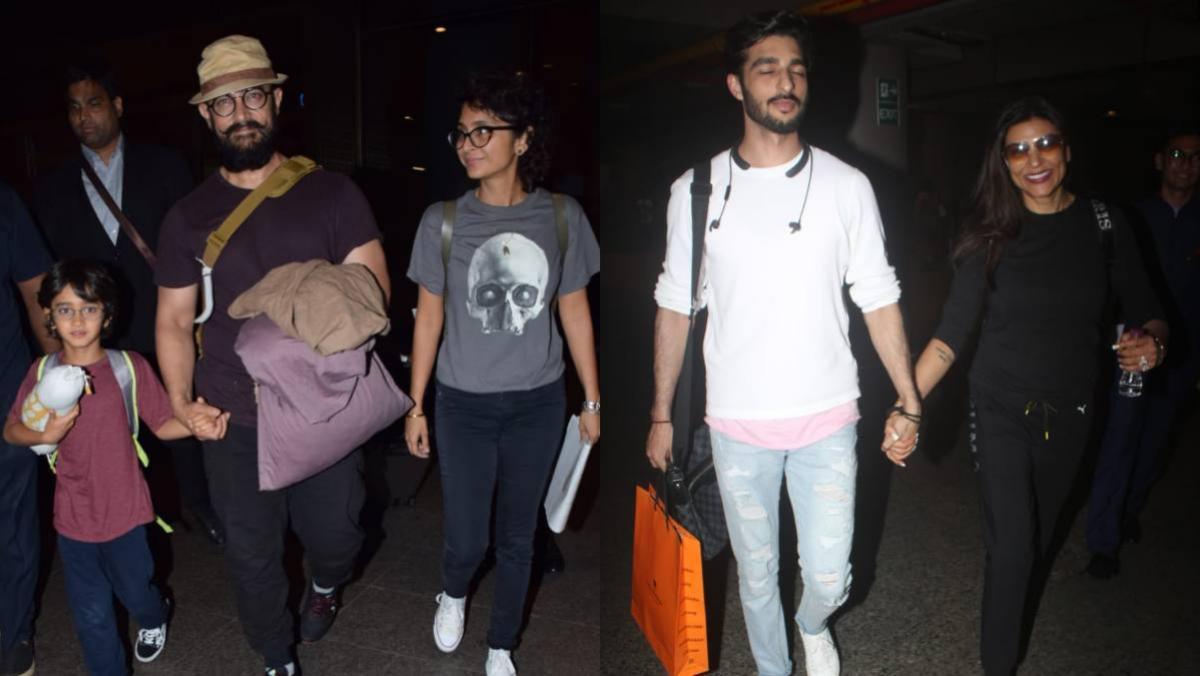 Aamir Khan was spotted with wife Kiran Rao and son Azad, while Sushmita Sen was seen with beau Rohman Shawl at the airport.