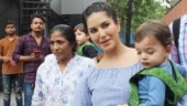 Sunny Leone is pretty in knee-length asymmetrical dress on day out with kids. See pics