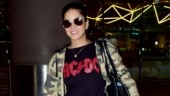 Sunny Leone is all for comfort in tee and denims at Mumbai airport. See pics