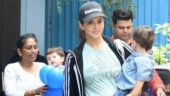 Sunny Leone keeps it casual in tee and tights on day out with sons. See pics