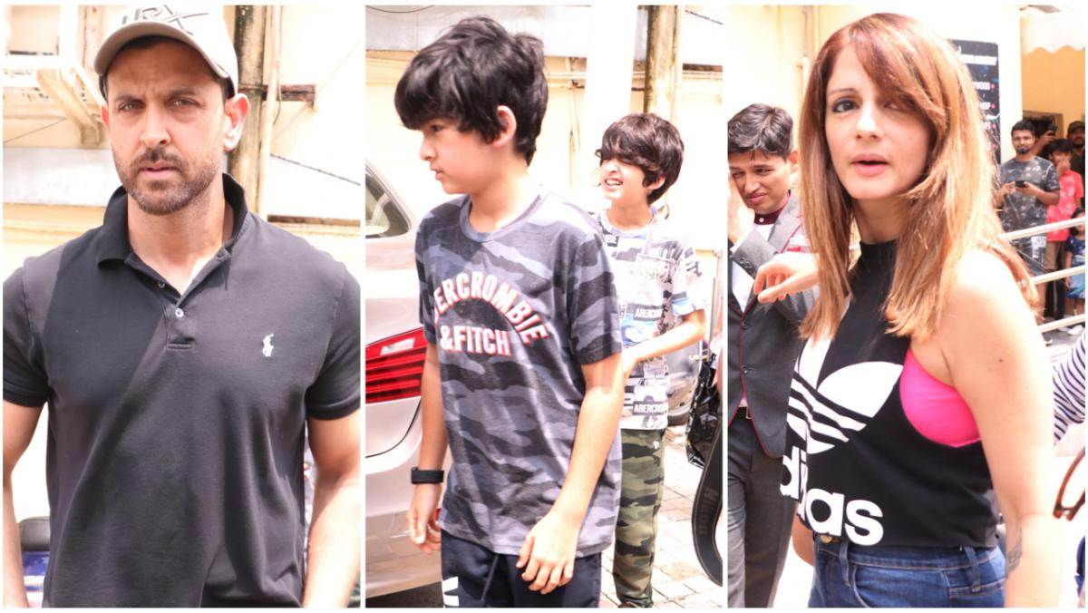 Hrithik Roshan with Sussanne Khan and their sons Hrehaan and Hridhaan