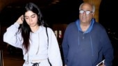 Khushi Kapoor and Boney Kapoor snapped at airport on Sridevi's birth anniversary. See pics
