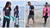 Neha Dhupia and Angad Bedi join Nora Fatehi in cleaning Mumbai beach. See pics