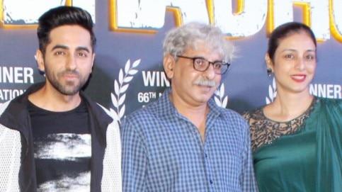 Ayushmann Khurrana and Tabu with their Andhadhun director Sriram Raghavan