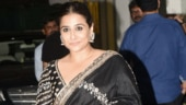 Vidya Balan is a vision to behold in black saree with backless blouse for Mission Mangal screening