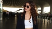 Mouni Roy in crop top and pants with blazer rocks formal fashion with casual twist at airport