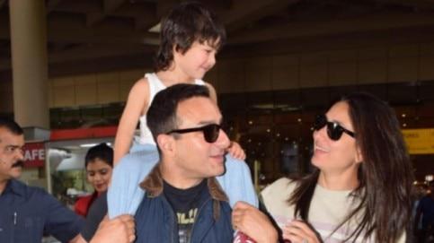Saif Ali Khan with Kareena Kapoor and Taimur Ali Khan. Photo: Yogen Shah