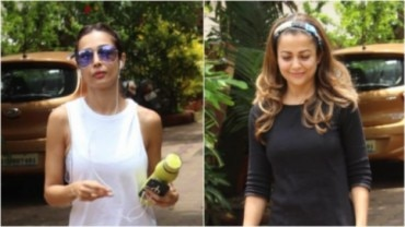 Malaika Arora and Amrita Arora outside gym Photo: Yogen Shah