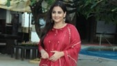 Vidya Balan is resplendent in red attire for Mission Mangal promotions. See pics