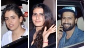 Dangal girls Fatima Sana Shaikh and Sanya Malhotra attend Chhichhore screening. Vicky Kaushal joins them