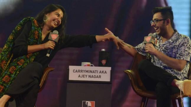 YouTube stars Prajakta Koli and CarryMinati