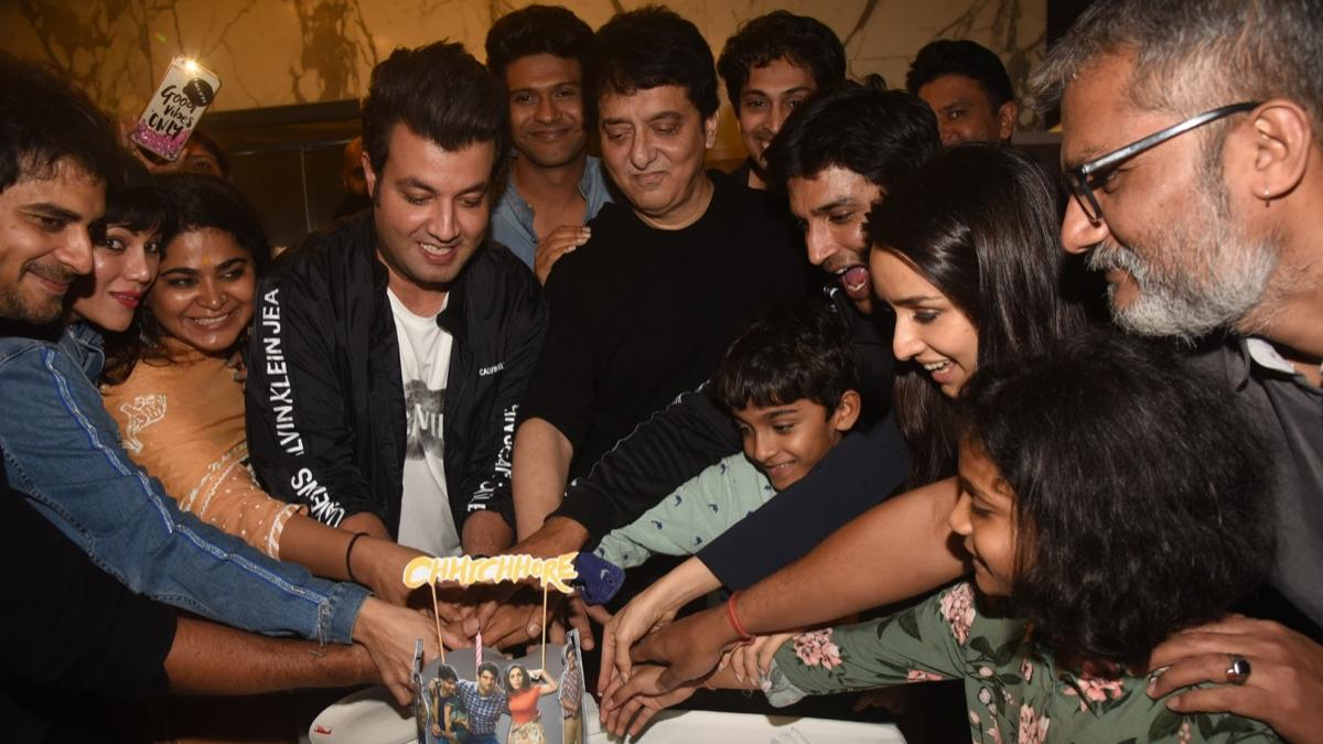 The Chhichhore team cut the cake after film's screening.