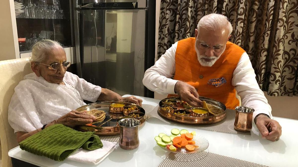 Prime Minister Narendra Modi with his mother Heeraben