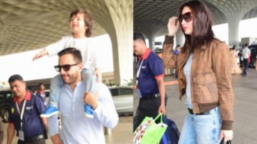 Saif, Kareena and Taimur at Mumbai airport