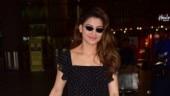 Urvashi Rautela goes all black with dash of neon at Mumbai airport